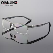 8ccee7fac67df QIANJIN Pure Óculos de Titânio Metade Aro Prescrição Frame Ótico Templo  Espetáculo Óculos Sem Armação Para óculos Homens Olho Fi.