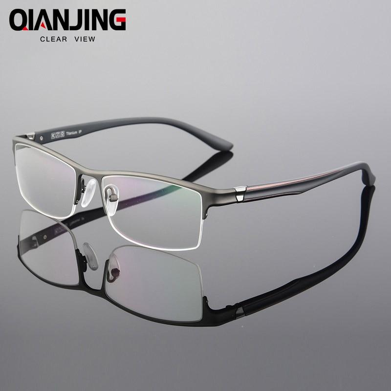QIANJIN Pure Titanium Eyeglasses Half Rim Optical Frame Prescription Spectacle Frameless Glasses For Men Eye glasses Slim Temple
