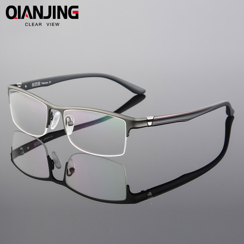 QIANJIN Pure Titanium Eyeglasses Half Rim Optical Frame Prescription Spectacle Frameless Glasses For Men Eye glasses Slim Temple
