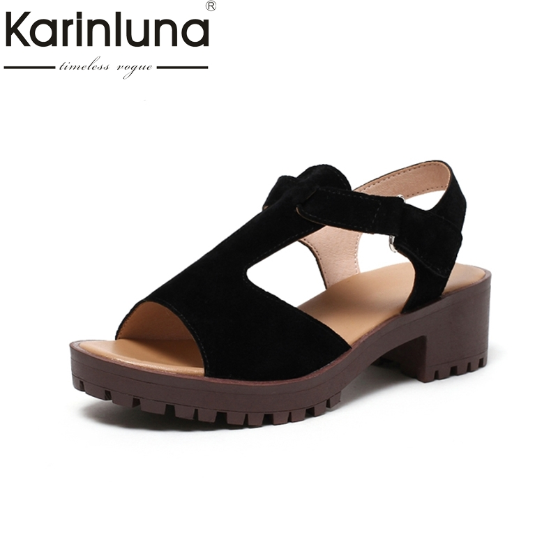 KARINLUNA 2017 Big Size 34-43 Platform Leisure Open Toe t-strap hook&loop Women Shoes Square Med Heels Girls Footwear Sandals jon marks ielts advantage speaking