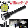 Super XLightFire 30000 Lumens 12x CREE XML T6 5 Mode 18650 Super Bright LED Flashlight