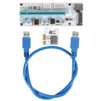 60cm PCI E Express 1X To 16X Extender Riser Card Adapter USB 3 0 LED SATA