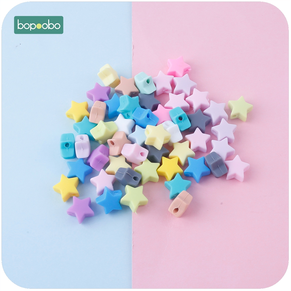 Bopoobo Silicone Beads Star Shape 30pcs 14mm Food Grade Teether BPA Free Ecofriendly Beads Bracelet DIY Jewelry Baby Teether
