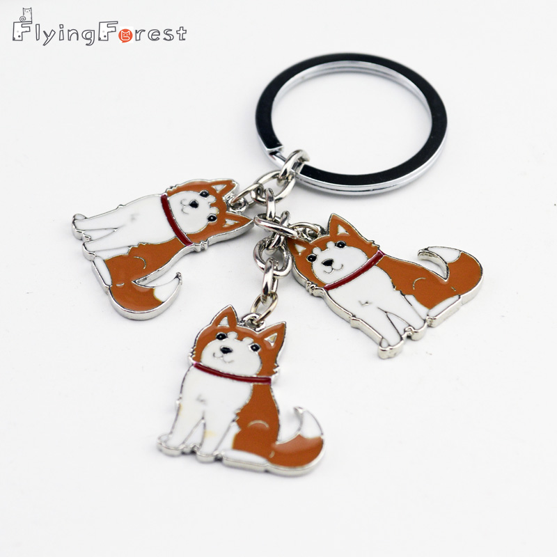 Alaskan Malamute Husky Keychain Lovely Husky Puppy Metal Key Chain Ring Holder Christmas Gift Chains for Lovers anjing Tag kunci