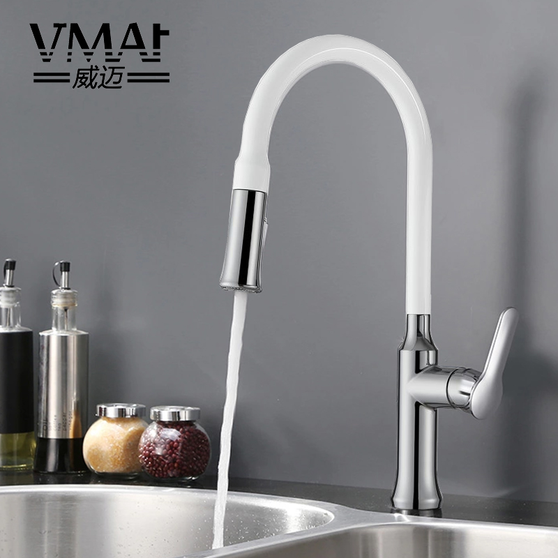 All copper drawn kitchen faucet, cold and hot water, simple white dish, sink, telescopic, universal faucet, single hole dish best served cold