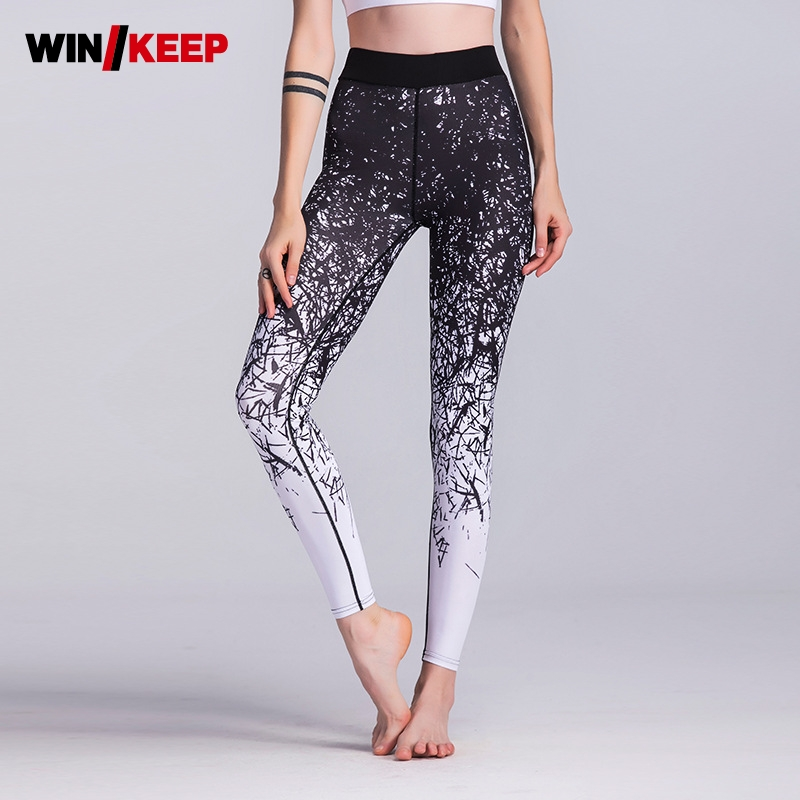 2018 New Printed Sports Leggings Stretch Tight Yoga Pants Women Flexible Exercise Pants Trousers Hot Sale Female Black Blue Pant