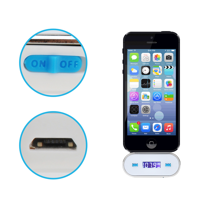 US $7 35 |FM Radio Transmitter USB Led Car Charger for Iphone Ipod Touch  iPad Samsung Galaxy Sony Xperia Nokia LG HTC white Collapsible-in FM