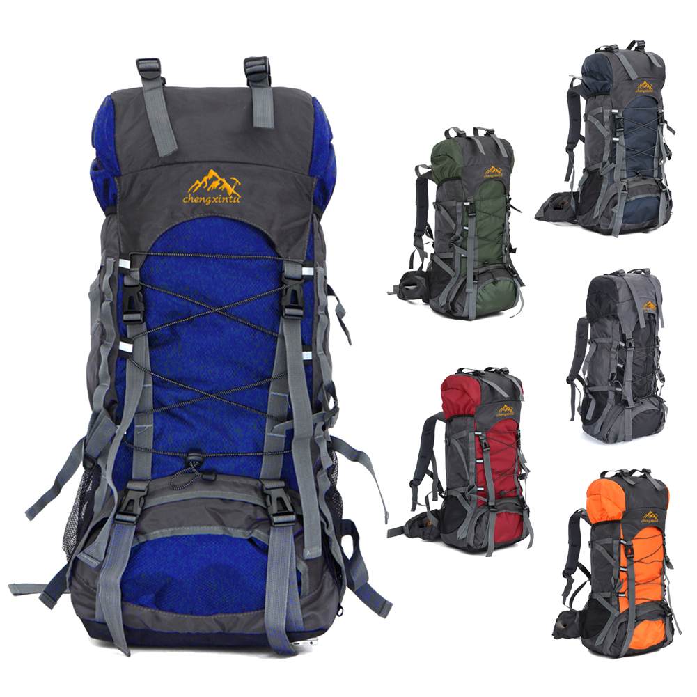 New Large 60L Outdoor Backpack Travel Climbing Backpacks Waterproof Rucksack  Mountaineering bag Nylon Camping Hiking Backpack-in Climbing Bags from  Sports ... c8fc0638d68b3