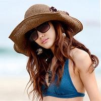 2018 Lato Szeroki Floppy Straw Hat dla Kobiet Kwiat Kolorowe Printting Kapelusz/Czapki Dziewczyny Loved Hot Sun-proof B-2258