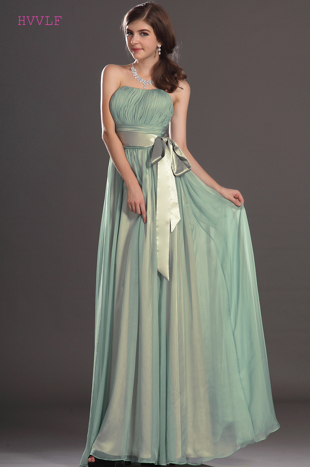 Mint Green 2019 Cheap   Bridesmaid     Dresses   Under 50 A-line Sweetheart Chiffon Bow Backless Long Wedding Party   Dresses