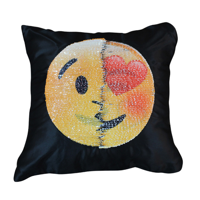 Home Face Changing Emoji Sequins Back Magic Creative Pillowcase Toys Gifts for Kids New Year Christmas Party Use