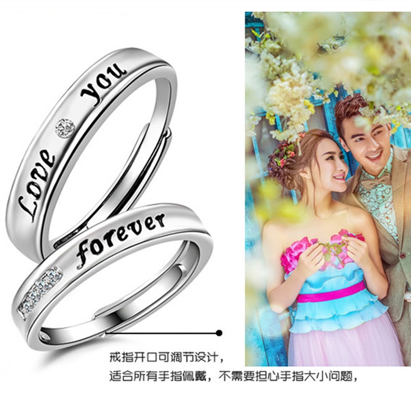 faf0a27e7eb9 Epoxy English Silver couple rings eternal love LOVE couple rings jewelry  sale high quality rings one pair-in Engagement Rings from Jewelry    Accessories on ...