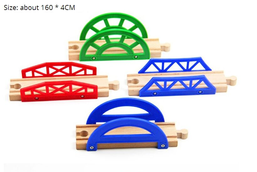 TTC33 D-TRACK Wooden Track Toy Train Scene Track Accessories BRIO Toy Car Truck Locomotive Engine Railway Toys For Children