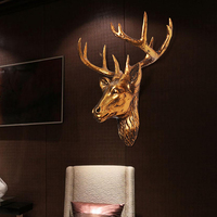 Home Furnishing jewelry European deer animal head hanging on the wall mural bar living room decoration Pendant