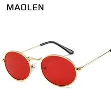 MAOLEN 2018 New Small Oval Sunglasses Small size Men male Black Round metal frame Sun Glasses for Women mirror UV400