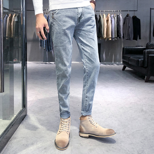 4a6f474f90a 2018 Latest Style Men Jeans Pants Vintage Designs Slim Fit Casual Pants Men  Solid Cotton Stretch Skinny Jeans Trousers Male