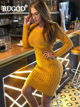 RUGOD New Autumn Winter Sweater Dress Women Fashion Hollow Out Knitted Dress Multi Colors Twist Pattern Bodycon Dress 2020 New