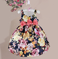 2015 fashion summer flower print girl dresses with silk bow vintage floral baby girls dress high street