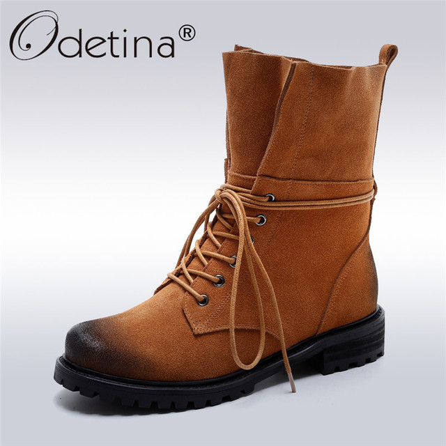 c614fe615bb Odetina 2017 Designer Genuine Leather Ladies Low Heeled Lace Up Ankle Boots  Round Toe Comfortable Boots For Women Autumn Shoes