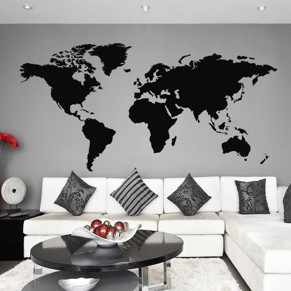World map wall decal the whole world atlas vinyl wall art sticker world map wall decal the whole world atlas vinyl wall art sticker home office decor 64h x 32w in wall stickers from home garden on aliexpress gumiabroncs Gallery