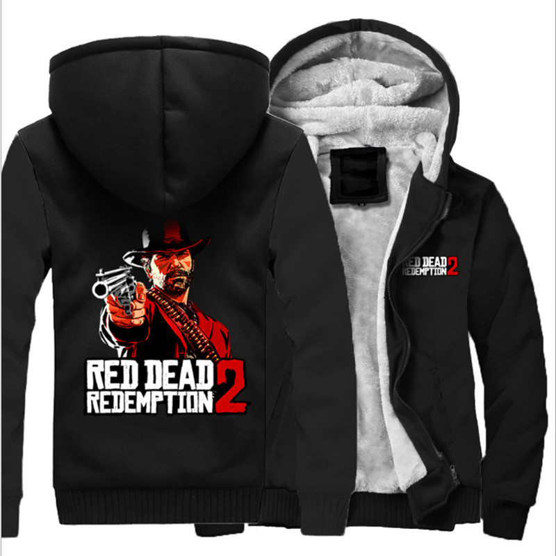 Men's Winter Thick Jacket Red Dead: Redemption Men Coat Hooded Sweatshirt With Polyster Villus Lining