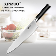 XINZUO 9.5 inch butcher knife 440C clad steel kitchen knife chef knife super sharp knife kitchen tool G10 handle free shipping