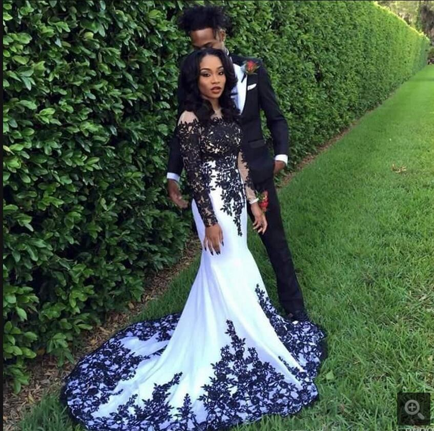 Black And White Wedding Gowns: Fashion Black And White Fully Applique Lace Long Sleeve