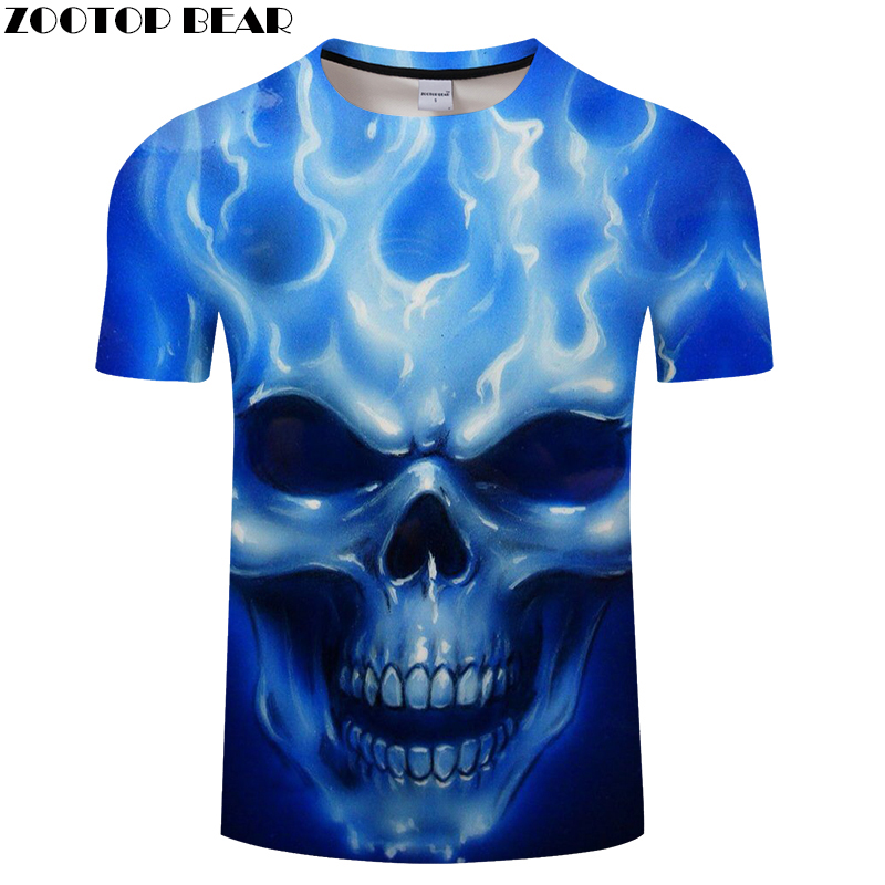 Blue Skull 3D t shirt Men tshirt Summer T-Shirt Casual Tops Short Sleeve Tee Male T-Shirt Streetwear Vintage DropShip ZOOTOPBEAR