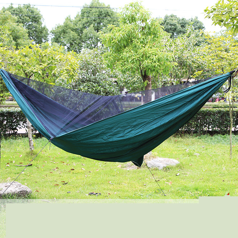 Image 4 - VILEAD 290*140 cm Camping Hammock with Mosquito Portable Stable High Strength Ultralight Hanging Bed Sleeping Hiking Camping Cot-in Camping Cots from Sports & Entertainment