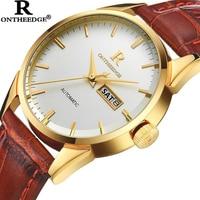 ONTHEEDGE Mens Watches Luxury Casual Waterproof Watch Man Quartz Watch Business Leather Band Watch Men Relogio