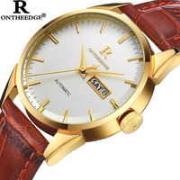 ONTHEEDGE Mens Watches Luxury Casual Waterproof Watch Man Quartz Watch Business Leather Band Watch Men Relogio