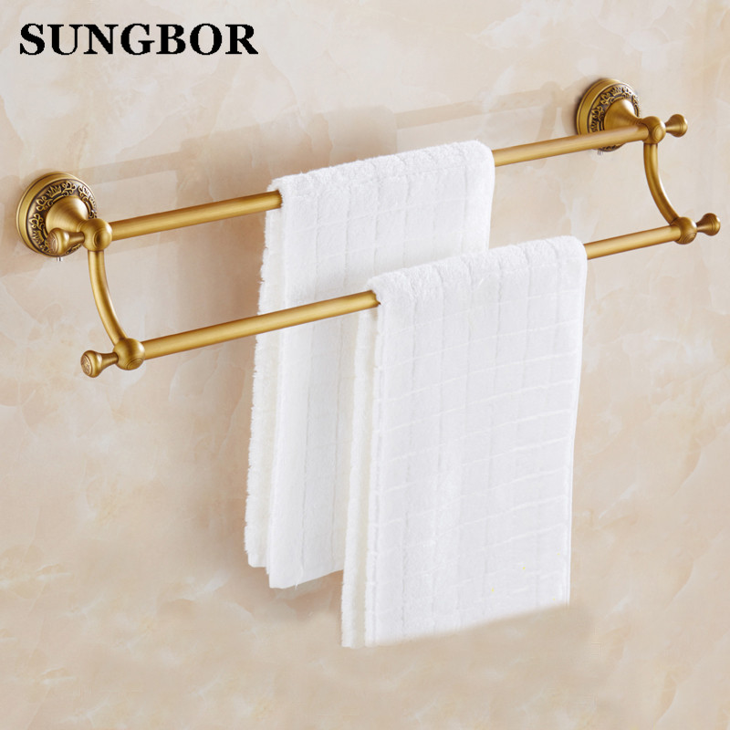 Bathroom accessories Antique brass 60cm Double towel bars bathroom towel rack wall mounted antique bathroom towel bars MY-73611F european antique brass double towel bars luxury towel rack towel bar wall mounted towel holder bathroom accessories zl 8711f