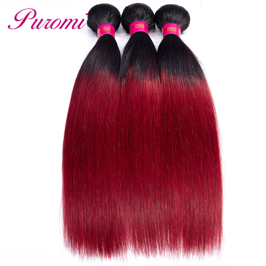 Puromi Ombre Straight Hair 3 Bundles Two tone Peruvian Hair Weave T1b burgundy Remy Human Hair