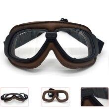 Evomosa Vintage Casco Occhiali di Protezione Del Motociclo Goggle Occhiali Moto Pilot Retro Jet Casco Gafas Enduro Goggle Occhiali da Vista Occhiali