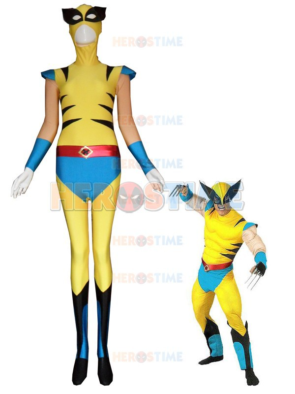 Cool X-men Superheo Costume Yellow And Blue Spandex Lycra Fullbody X-men Costumes Halloween Cosplay Zentai Suit