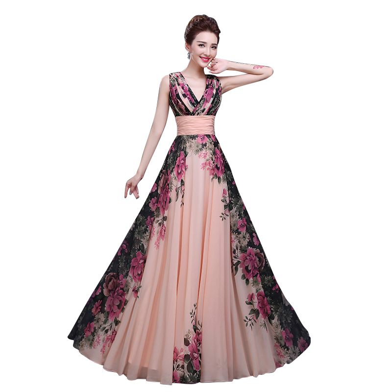 Floral Printed V-Neck Sleeveless Chiffon A-Line Formal   Evening     Dress   Long 2019 Floor-Length   Evening   Party Prom   Dress   Pregnant
