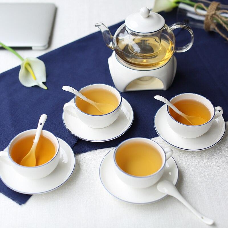 Théière en porcelaine blanche ensemble thé service verre théière tasse britannique après-midi thé bouilloire bouillante désherbage décoration cadeau