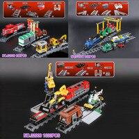 DHL 02039 02008 02009 City Series Red Cargo Train Set Children Building Blocks Brick Educational Toys