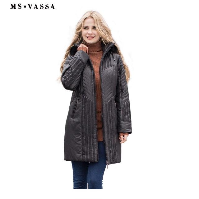 MS Vassa Для женщин Тренчи для женщин пальто осень-зима Дамская мода пальто съемный капюшон с искусственного меха большие размеры 4XL 6XL кружевные украшения