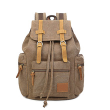 Canvas travel Backpacks Men &Women School Backpack men Travel  Vintage simple wild Casual multifunction