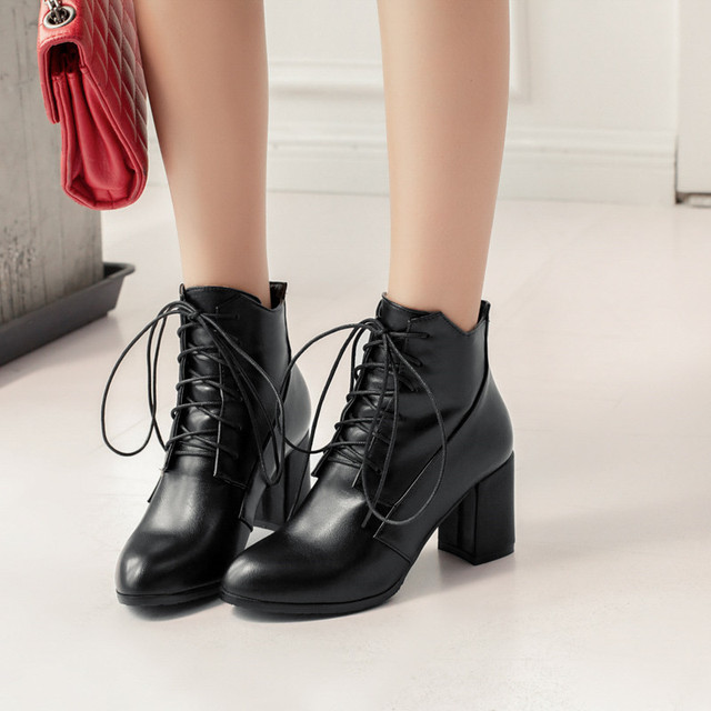 YMECHIC 2018 High Chunky Block Heel Shoes Black Green Lace Up Rock Street  Punk Cross Tied Ankle Motorcycle Military Combat Boots 8f5b61e9c89a