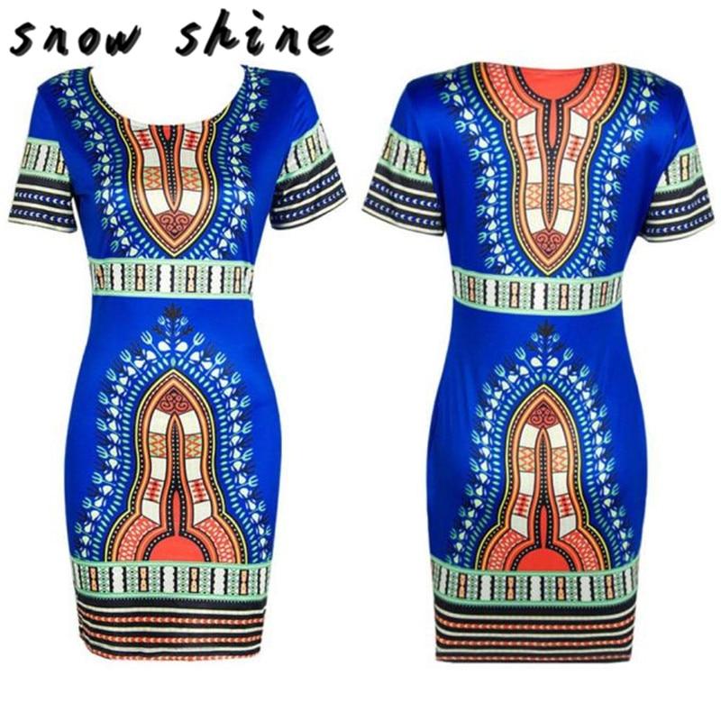 snowshine YLI Women Traditional African Print Dashiki Bodycon Sexy Short Sleeve Dress free shipping