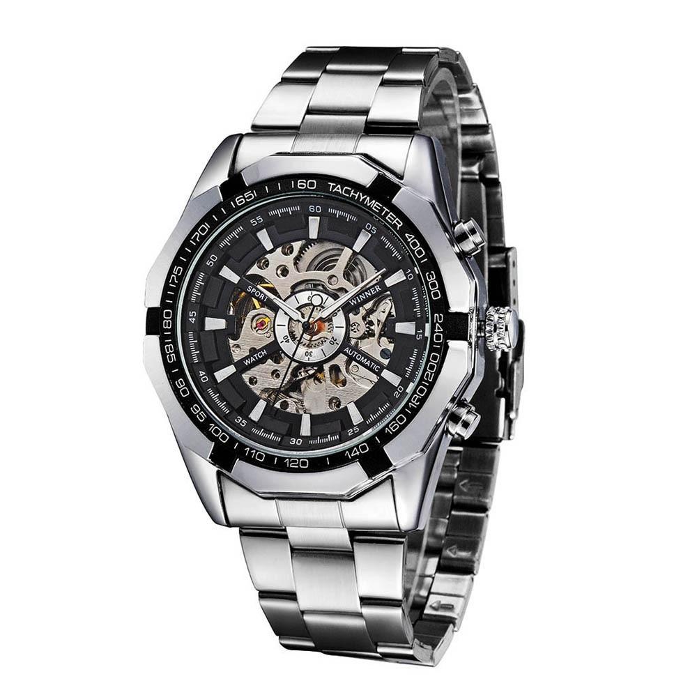 Fashion watch Semi-Automatic Mechanical Watch Skeleton See-through Dial Hand-winding Top Luxury Brand Men watches Wristwatch 機械 式 腕時計 スケルトン