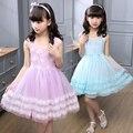 Vestido da menina de flor para a festa de casamento e vestidos de meninas de verão criança 2017 roupas da moda roupa dos miúdos 3 ~ 14 anos aniversário MC70