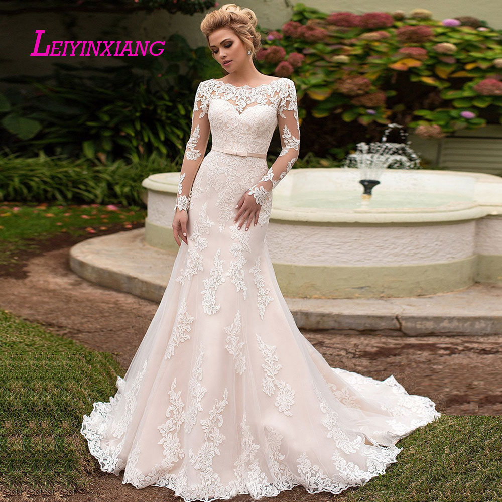 LEIYINXIANG New Arrival Wedding Dress Bride Gown Vestido De Noiva Sexy Mermaid Sweetheart Backless Bow Sashes Appliques Princess-in Wedding Dresses from Weddings & Events