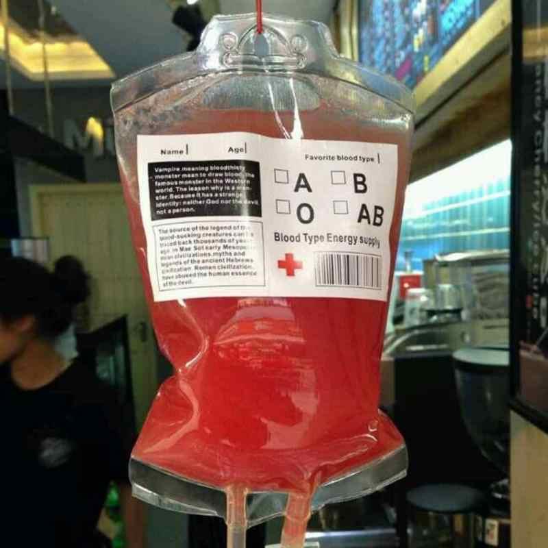 10 pcs 350 ml Reutilizável Transparente Claro Bolsa de Sangue Sangue Saco de Bebida Energética Decoração Bolsa Adereços Fontes Do Partido de Vampiro do Dia Das Bruxas