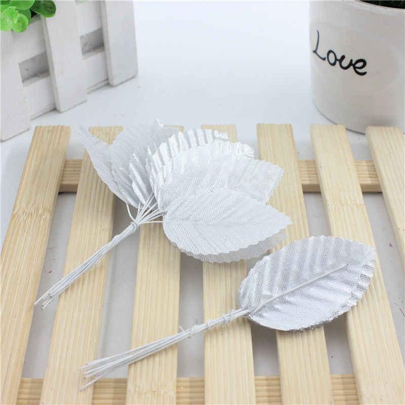 Barato 10 unids/lote 5 cm hojas verdes de seda en forma de hoja flor Artificial para la decoración de la boda DIY Scrapbooking