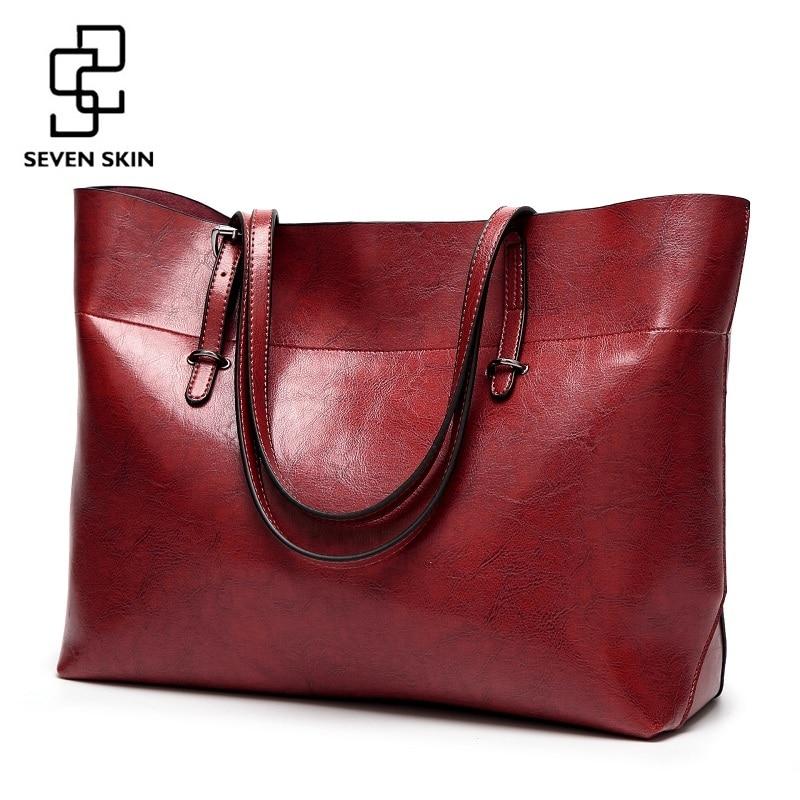 SEVEN SKIN Women Messenger Bags Large Size Female Casual Tote Bag Solid Leather Handbag <font><b>Shoulder</b></font> Bag Famous Brand Bolsa Feminina
