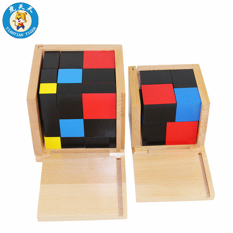 Bébé Montessori Sensorielle Jouets Apprentissage des Mathématiques Enseignement Fournitures En Bois Jouets Éducatifs Binomiale Cubes Et Trinôme Cubes