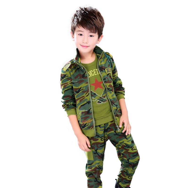 Boys camouflage clothing set 3pcs for big Kids cotton Jacket +T-shirt+pants teens clothes suit for 4 5 6 7 8 9 10 11 12 13 years